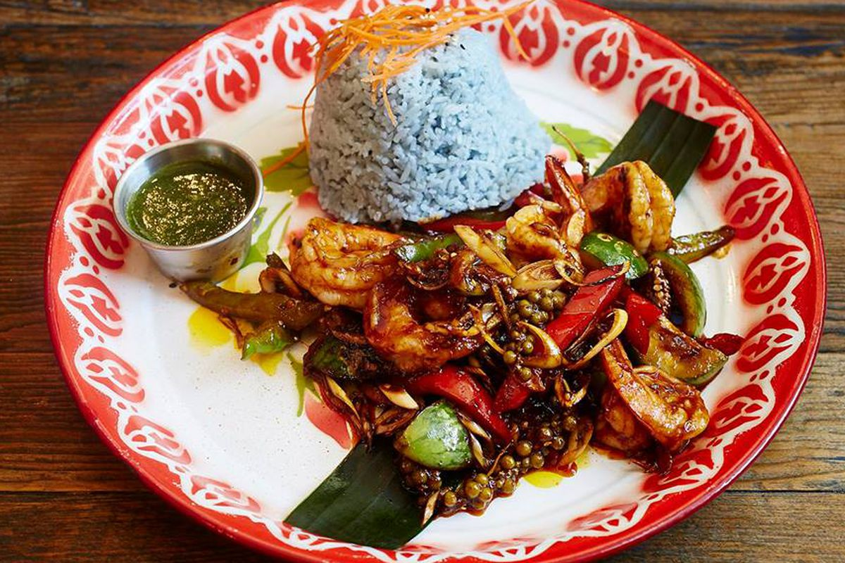 Farmhouse Kitchen's intriguing blue rice.