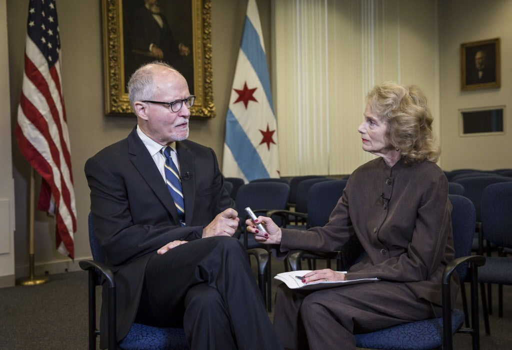 Mayoral candidate Paul Vallas is interviewed by Sun-Times reporter Fran Spielman at City Hall Friday, Aug. 17, 2018.   Rich Hein/Sun-Times