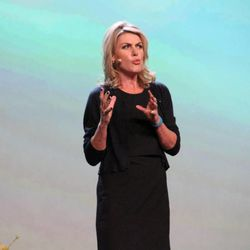Annelies van den Belt, CEO of FindMyPast.com, speaks at the keynote session of RootsTech 2014 on Feb. 6.