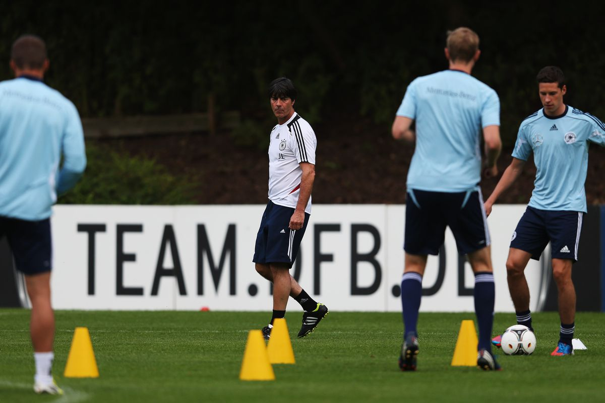 BARSINGHAUSEN, GERMANY - SEPTEMBER 06:  Head coach Joachim Loew (2nd L) of Germany looks on during a training session ahead of their FIFA World Cup Brazil 2014 qualifier against the Faroe Islands on September 6, 2012.