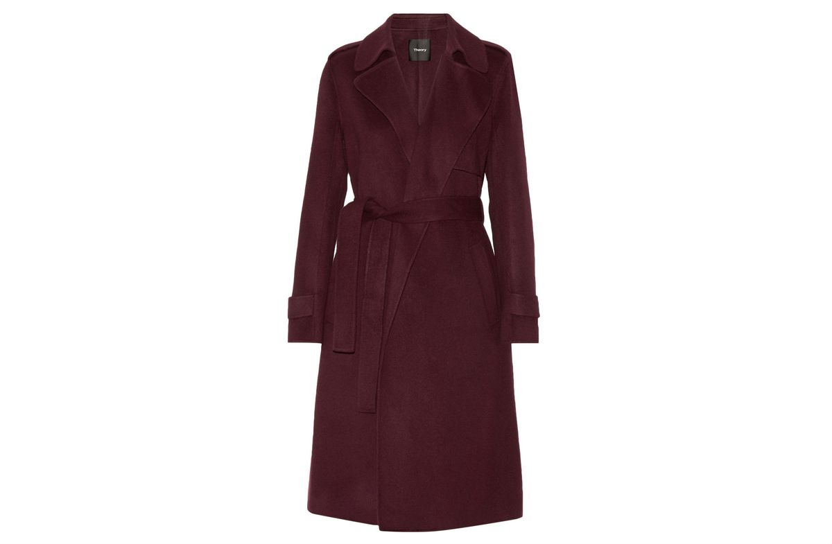 Theory burgundy wool and cashmere coat