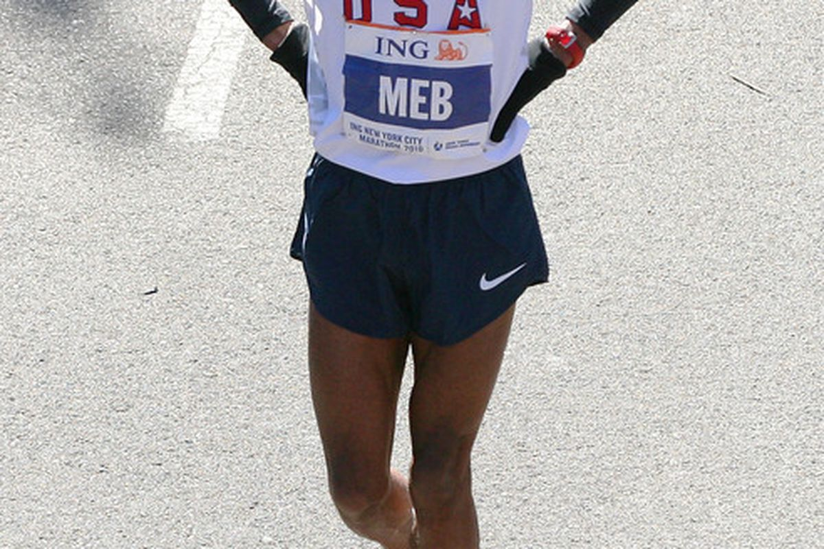 NEW YORK - NOVEMBER 07:  Meb Keflezighi #1 of the United States rests after earning sixth place in the men's division of the 41st ING New York City Marathon on November 7 2010 in New York City. (Photo by Andrew Burton/Getty Images)