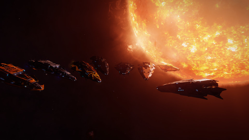 Hull Seals, a player-led repair group in Elite: Dangerous, after a 7,000-light year trip during the Distant Worlds 2 expedition. Their client, Commander Fergard, had crash-landed their starship and was in need of repair. Left to right, Astaced, Sabazeus,