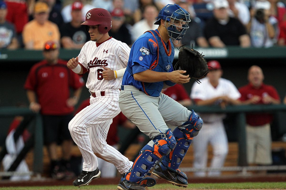 Catcher Mike Zunino of the Florida Gators during Game Two of the men's 2011 NCAA College Baseball World Series at TD Ameritrade Park Omaha on June 28, 2011 in Omaha, Nebraska.  (Photo by Ronald Martinez/Getty Images)