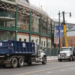 Dump trucks parked along Clark Street
