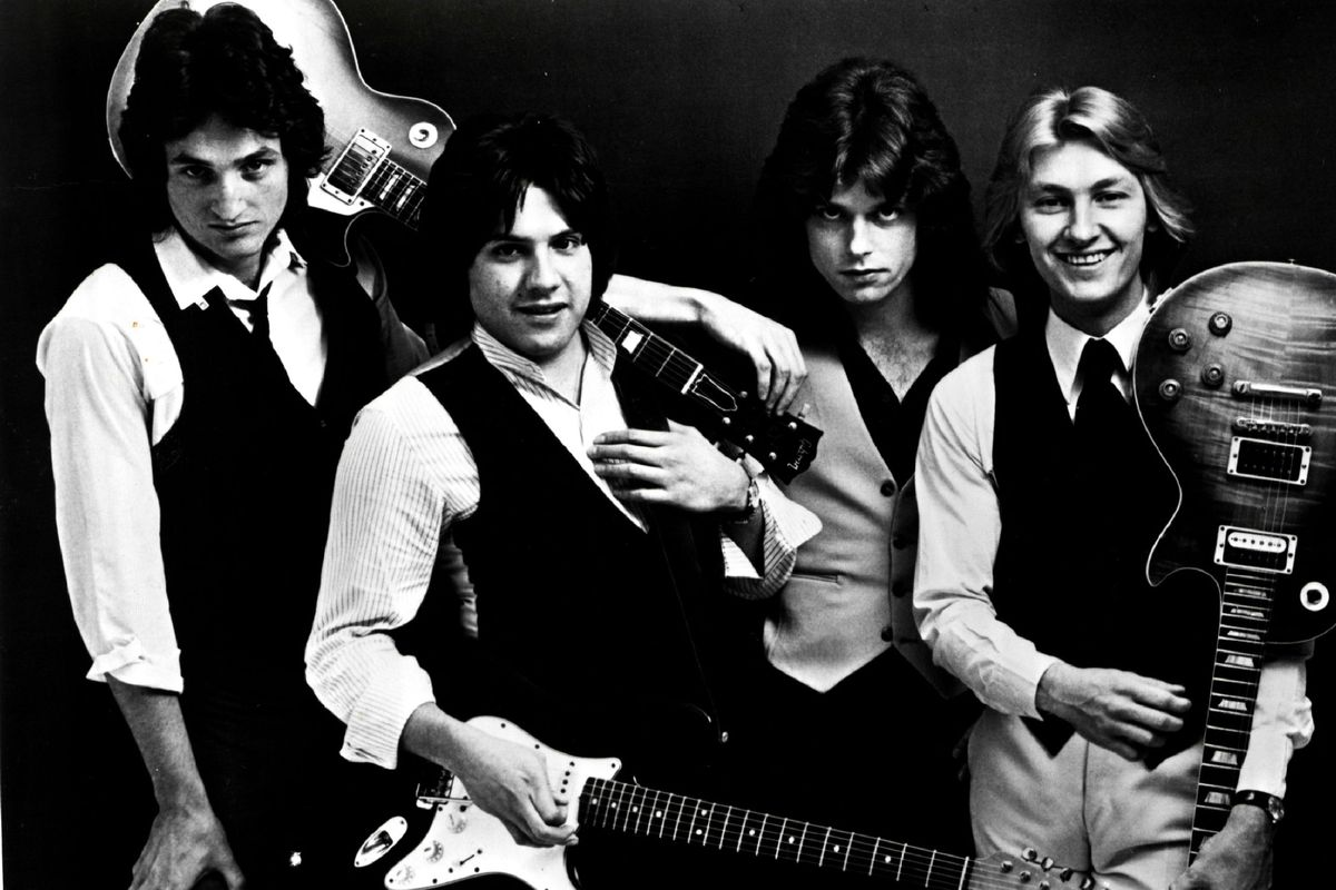 Mike Ruane (left) was the drummer for the power pop group Pezband. With bandmates (from left) Mimi Betinis, Mike Gorman and Tom Gawenda.