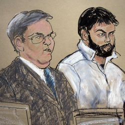 FILE - This Jan. 8, 2010 courtroom file sketch shows Zarein Ahmedzay, right, with his attorney Michael Marinaccio during his arraignment at Brooklyn Federal court in New York. In his first public account, Ahmedzay testified Monday, April 16, 2012, that Adis Madunjanin, accused of becoming an al-Qaida operative, discussed bombing New York City movie theaters, Grand Central Terminal, Times Square and the New York Stock Exchange before settling on the city's subways, encouraged Ahmedzay to follow a more radical form of Islam.