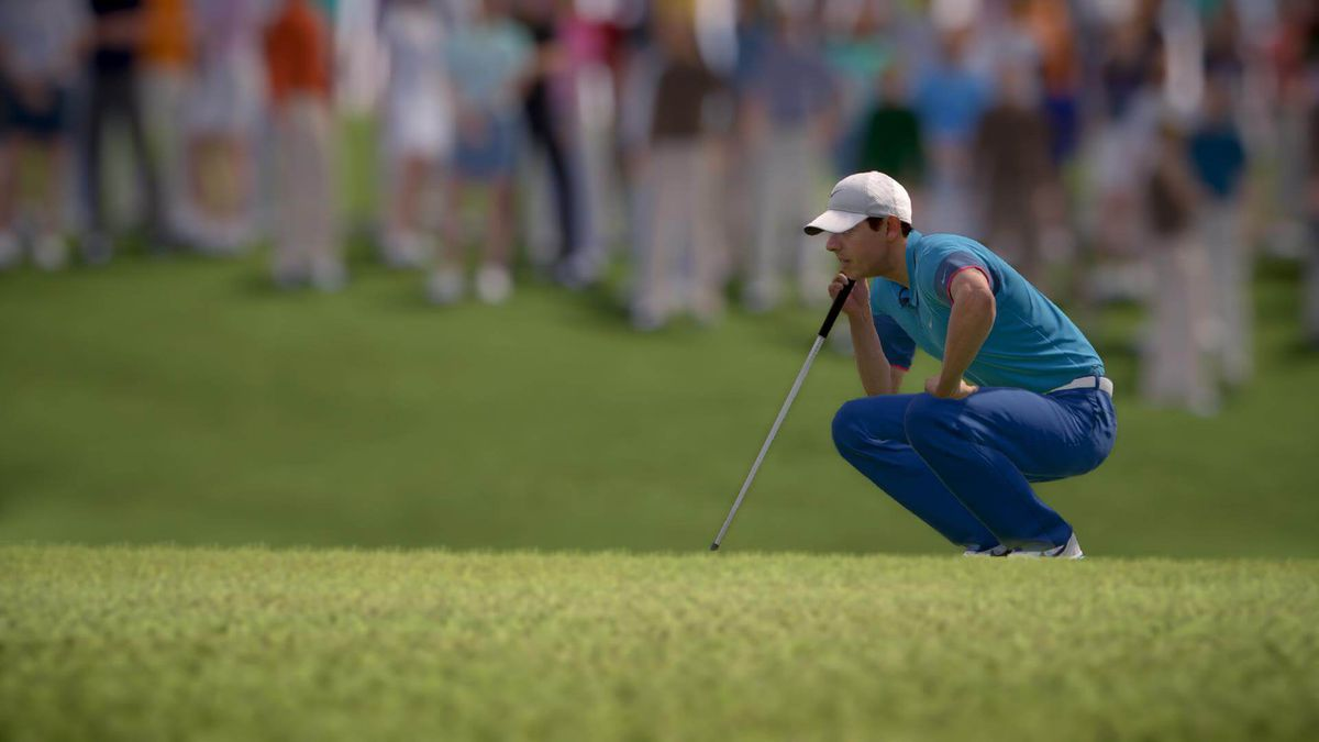 Rory McIlroy squats to read a green, chin on hand, in Rory McIlroy PGA Tour
