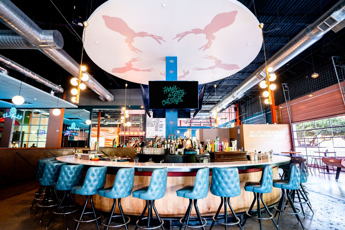 Punch Bowl Social's bar in downtown Austin