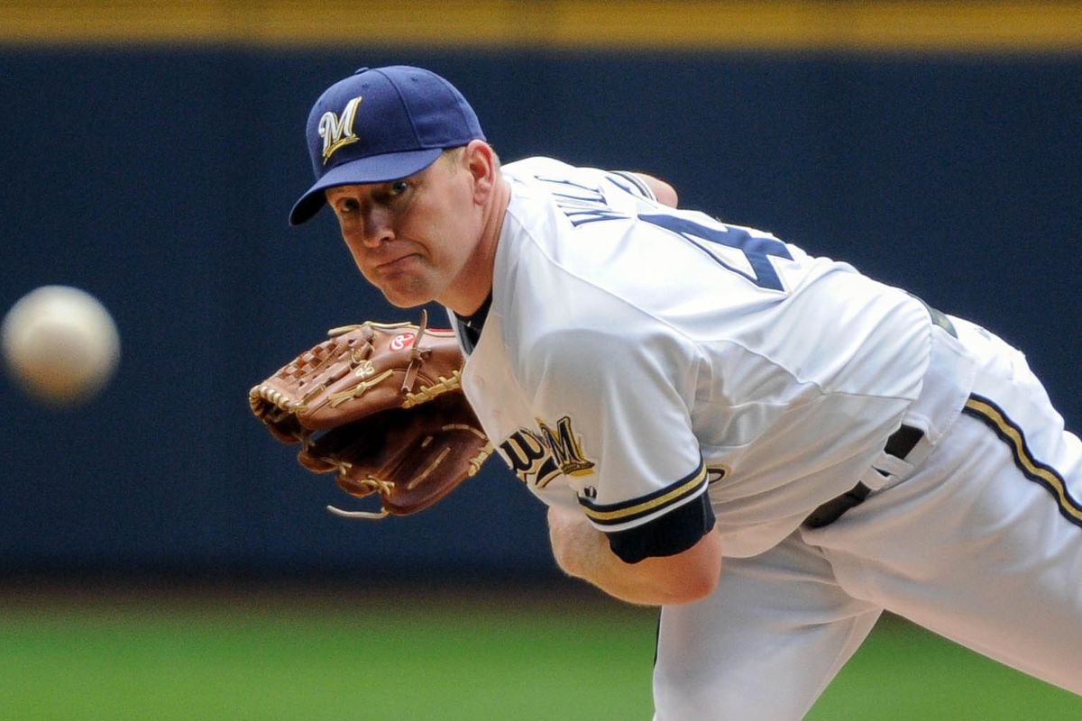 Aug 19, 2012; Milwaukee, WI, USA;  Milwaukee Brewers pitcher Randy Wolf (43) pitches against the Philadelphia Phillies in the first inning at Miller Park.  Mandatory Credit: Benny Sieu-US PRESSWIRE
