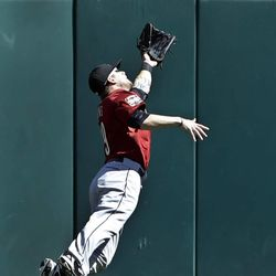 Houston Astros center fielder Brandon Barnes makes a diving catch to rob St. Louis Cardinals' Jon Jay of a hit during the first inning of a baseball game, Thursday, Sept. 20, 2012, in St. Louis.