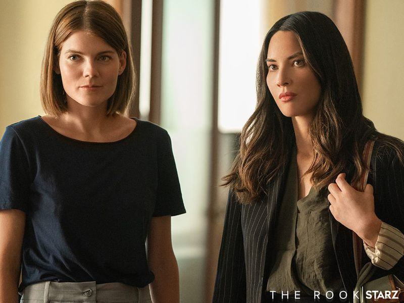 Myfanwy (Emma Greenwell) and Monica (Olivia Munn) on The Rook.