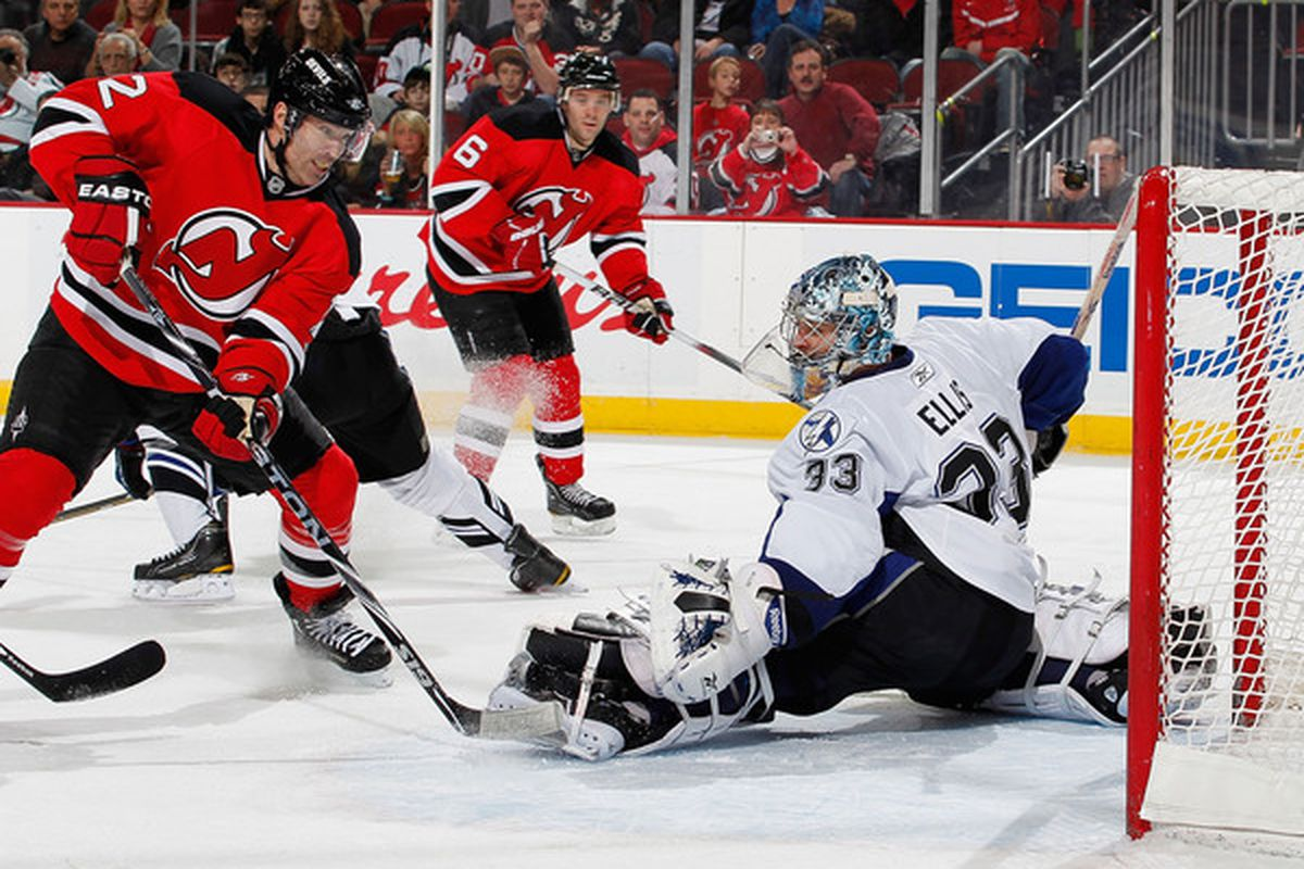NEWARK NJ - JANUARY 09:  This is a high percentage shot of late for the Devils. (Photo by Paul Bereswill/Getty Images)