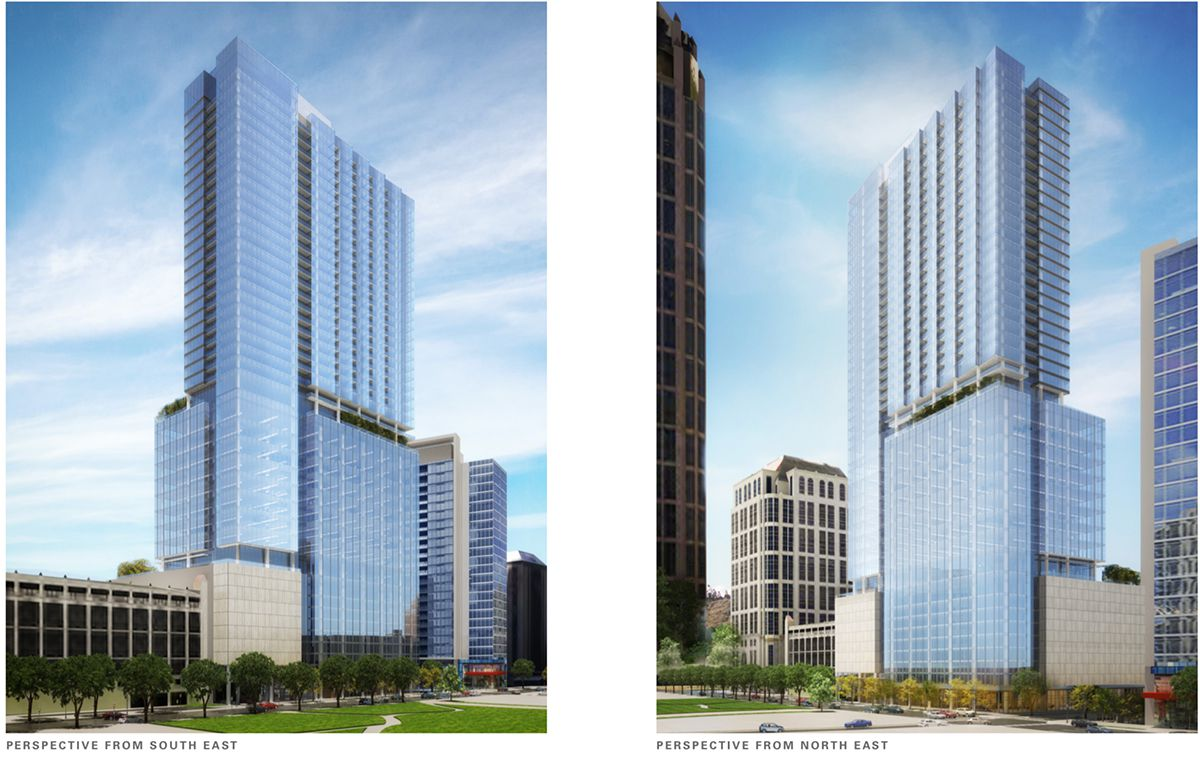 Two renderings of the proposed tower.