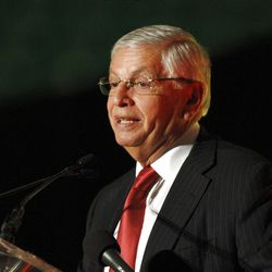NBA Commissioner David Stern talks about Larry Miller at the first annual Governor's State of Sport Awards banquet sponsored by Utah Sports Commission Thursday, April 5, 2012, in Salt Lake City, Utah.