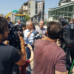 Media scrum around the mayor -