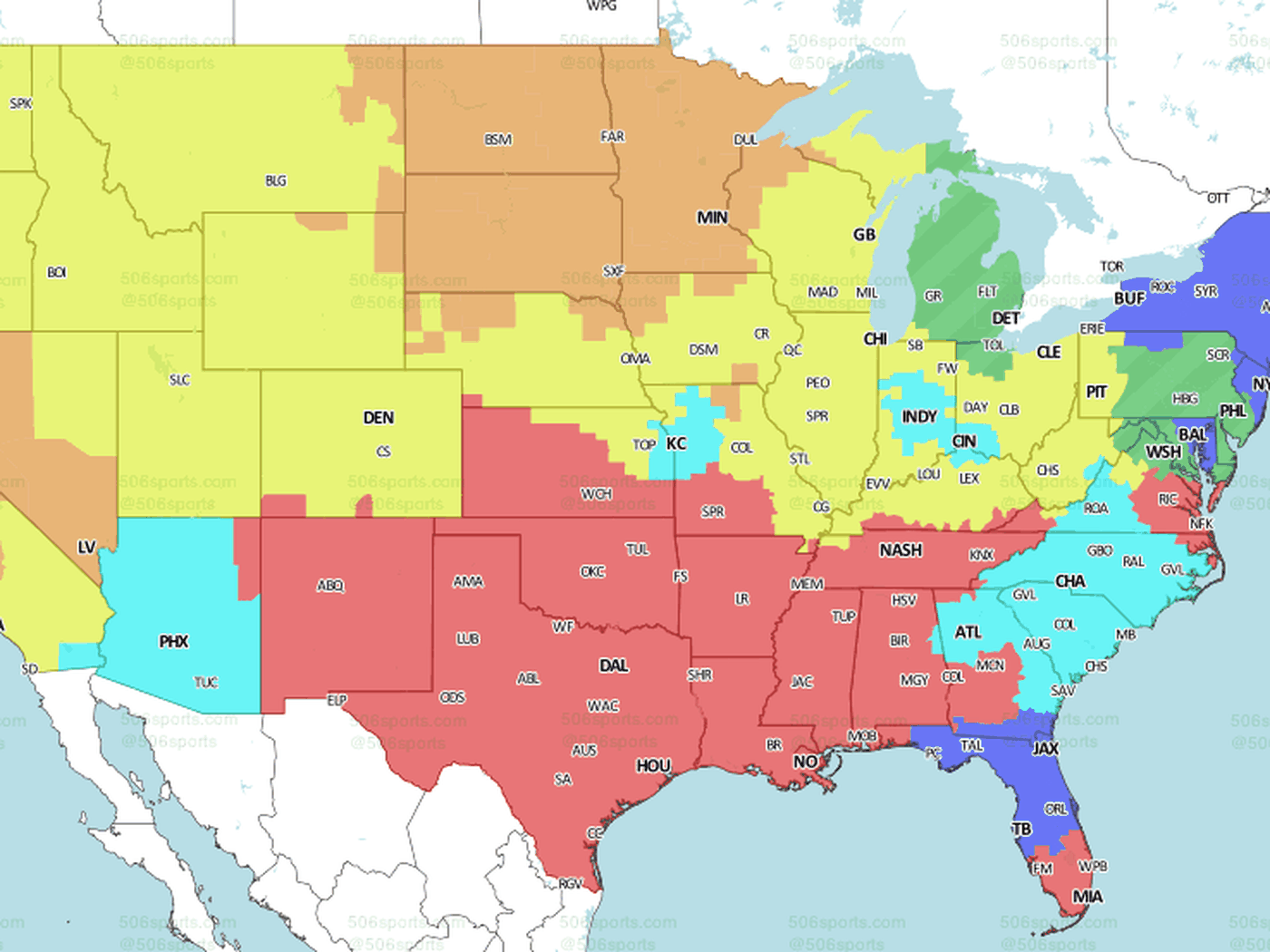 Denver Broncos at Green Bay Packers: TV broadcast map for ... on