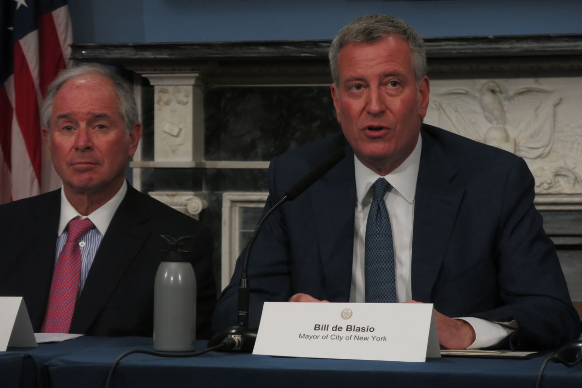 Mayor Bill de Blasio holds a press conference to call for an extension of mayoral control.