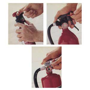 """<p>All Extinguishers have a lock pin that prevents the handle from functioning and the contents from accidentally discharging. <a href=""""http://www.firstalert.com"""" target=""""_blank"""">First Alert's</a> Model FE1A10G disposable (top left) has a one-handed plastic trigger grip. It weighs just 3 lbs., 6oz. A drawback: The largest size available is 1-A: 10-B:C. The 8-lbs., rechargeable <a href=""""http://www.kiddeus.com"""" target=""""_blank"""">Kidde</a> Fireaway 340 (bottom) has an aluminum container and a hose th"""