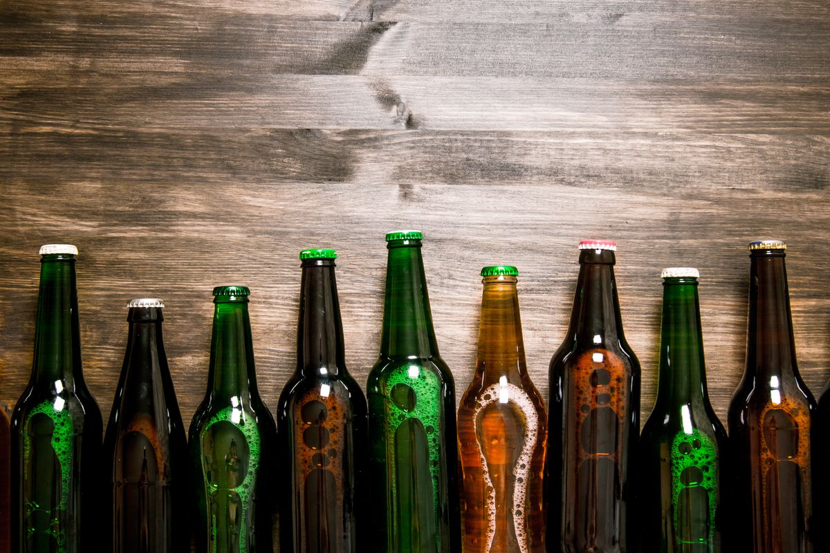 A stock image of beer bottles