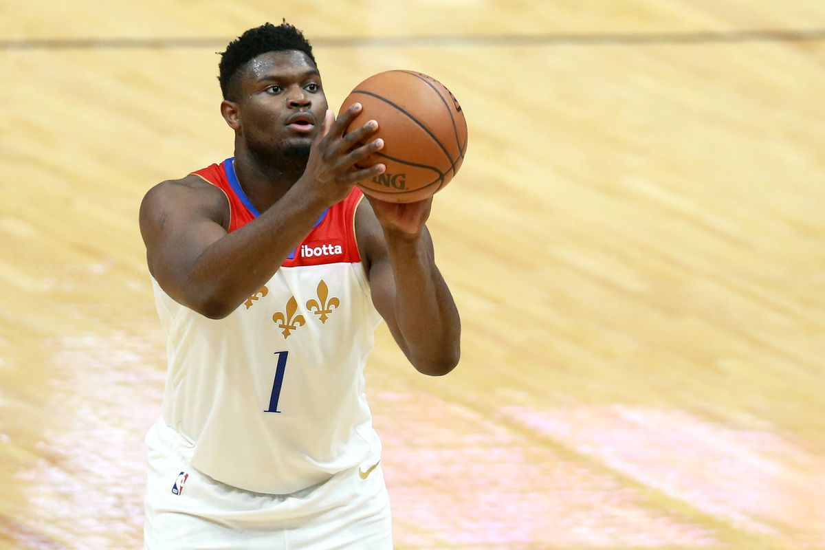 Zion Williamson of the New Orleans Pelicans shoots a free throw during a NBA game against the Charlotte Hornets at Smoothie King Center on January 08, 2021 in New Orleans, Louisiana.