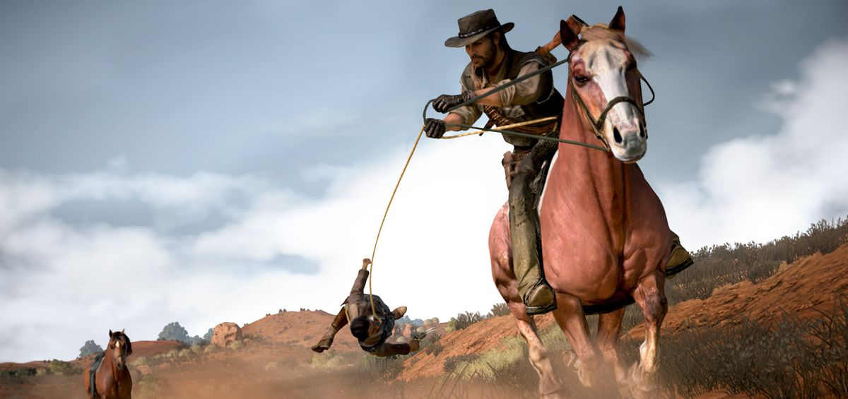 Red Dead Redemption - John Marston on horseback dragging Javier Escuella behind him with a lasso