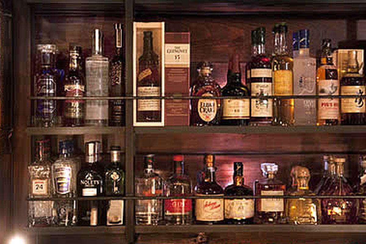 Some of the well liquor at Hop Sing Laundromat