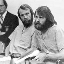 Brothers Ron, left, and Dan Lafferty appear in a court hearing on Aug. 21, 1984, where they asked to act as their own counsel.