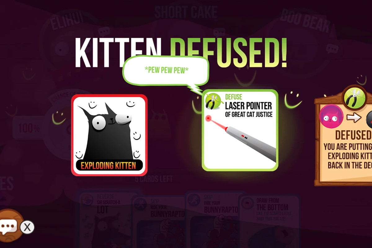 Exploding Kittens - a screenshot of someone defusing a kitten on the Nintendo Switch version of Exploding Kittens