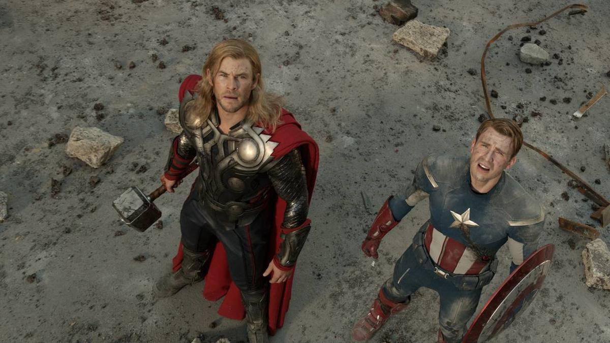 "Thor (Chris Hemsworth) and Captain America (Chris Evans) in ""The Avengers."""