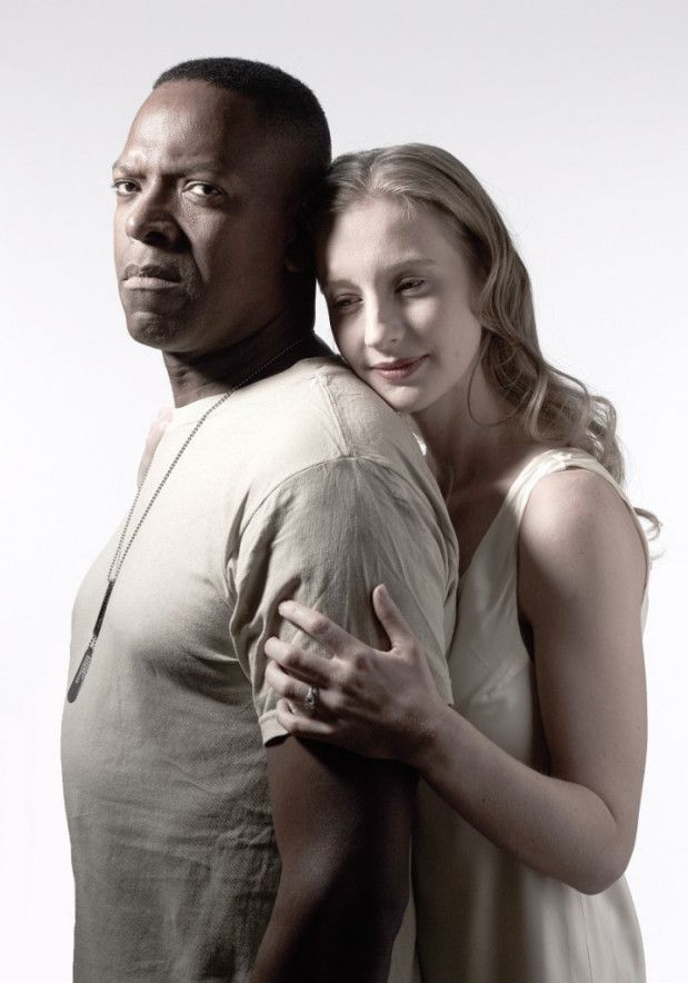 """James Meredith as Othello, with Bethany Jillard as Desdemona, in the Chicago Shakespeare Theatre production of """"Othello."""" (Photo: Jeff Sciortino)"""