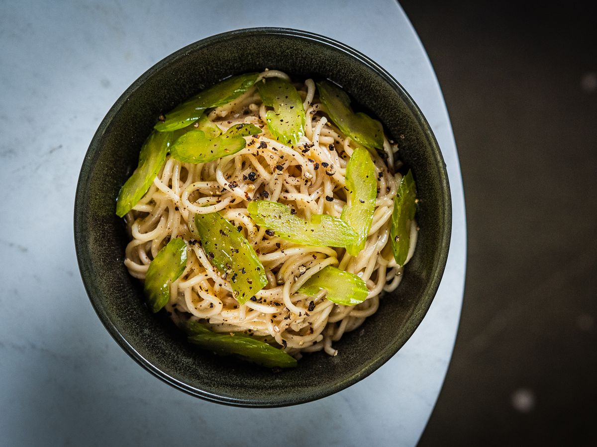 Miso butter champon noodles with sliced celery and black pepper from Emilie's