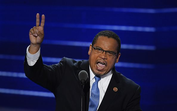 Ellison giving a speech at the DNC Convention in Philadelphia on Monday night.