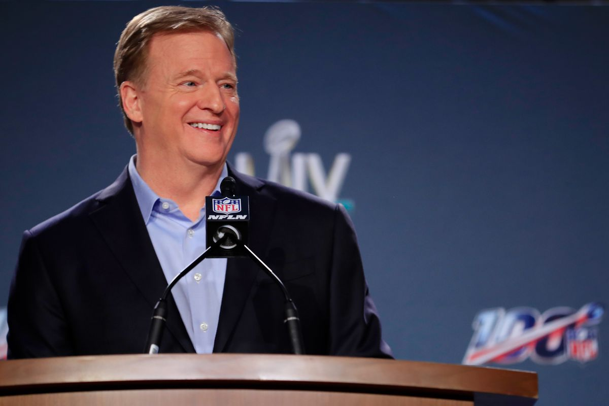 NFL Commissioner Roger Goodell speaks to the media during a press conference prior to Super Bowl LIV at the Hilton Miami Downtown on January 29, 2020 in Miami, Florida. The San Francisco 49ers will face the Kansas City Chiefs in the 54th playing of the Super Bowl, Sunday February 2nd.
