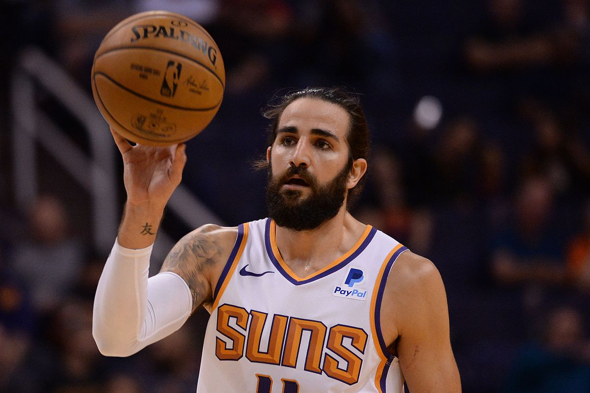 Phoenix Suns guard Ricky Rubio passes the ball against the Atlanta Hawks during the first half at Talking Stick Resort Arena.