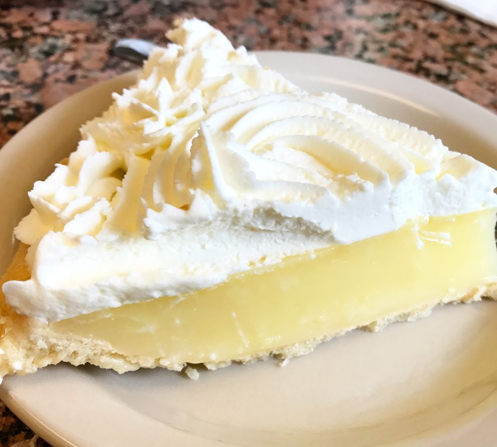 A slice of pie from Blue Bonnet Cafe