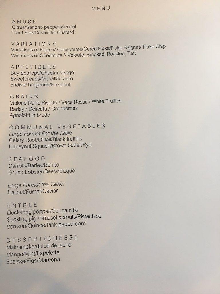 sample menu at 70 Pine Street