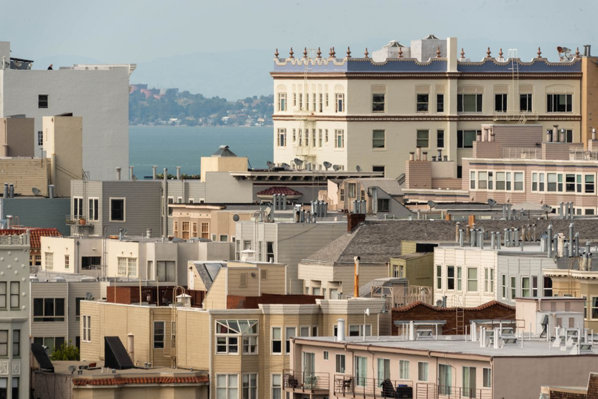 Blocky apartment buildings in San Francisco.