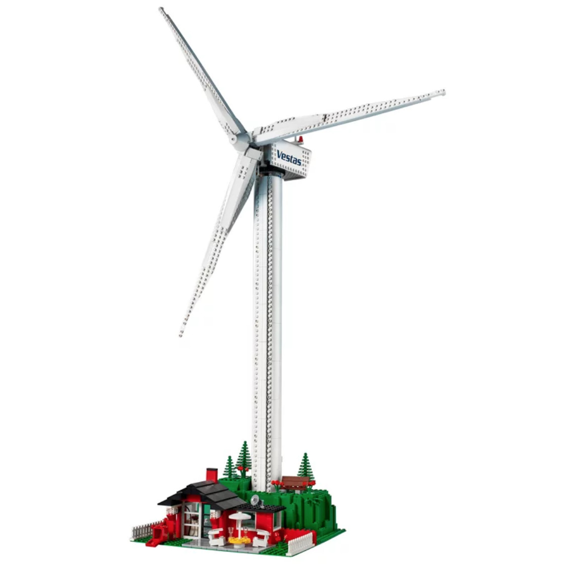 Lego wind turbine with cottage underneath