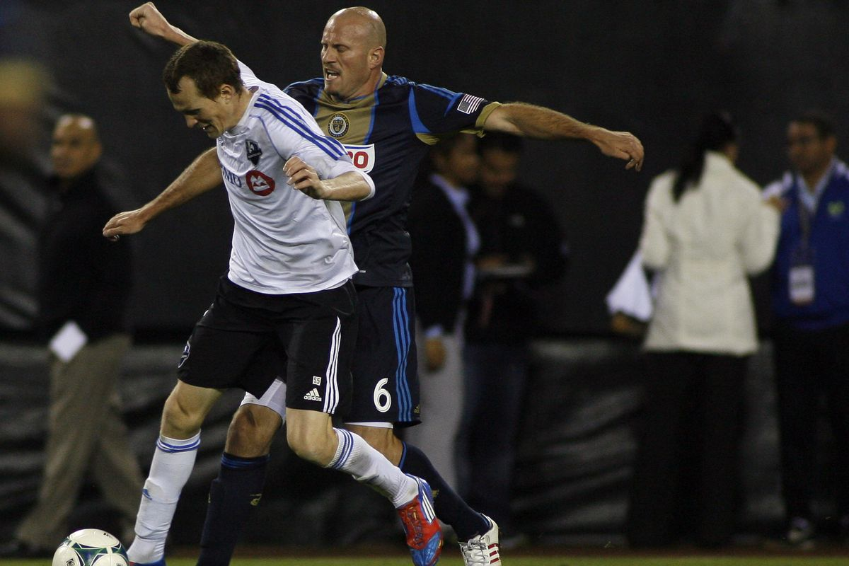 Wandrille Lefevre against MLS veterans including new Union striker, Conor Casey.