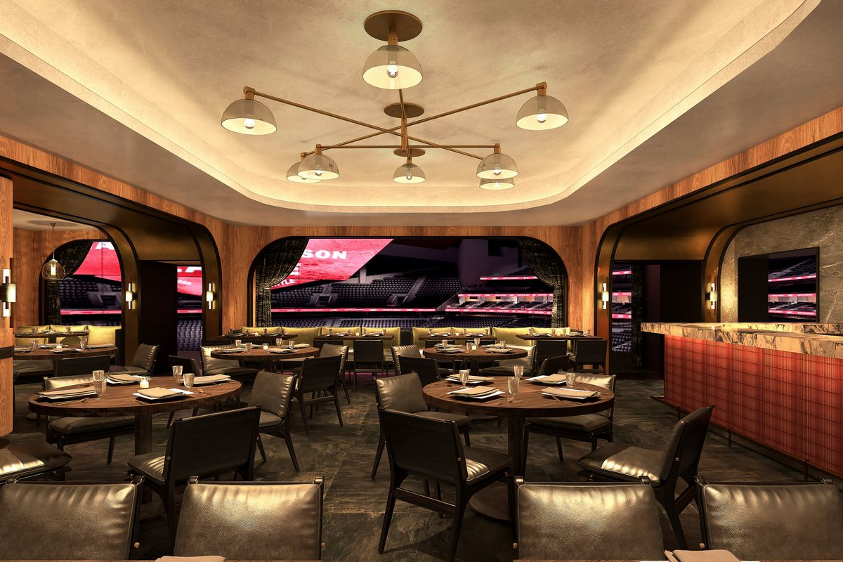 A rendering for the Metropolitan Club at the New Arena at Seattle Center shows dark wood finishings and some tables looking out onto the rink.
