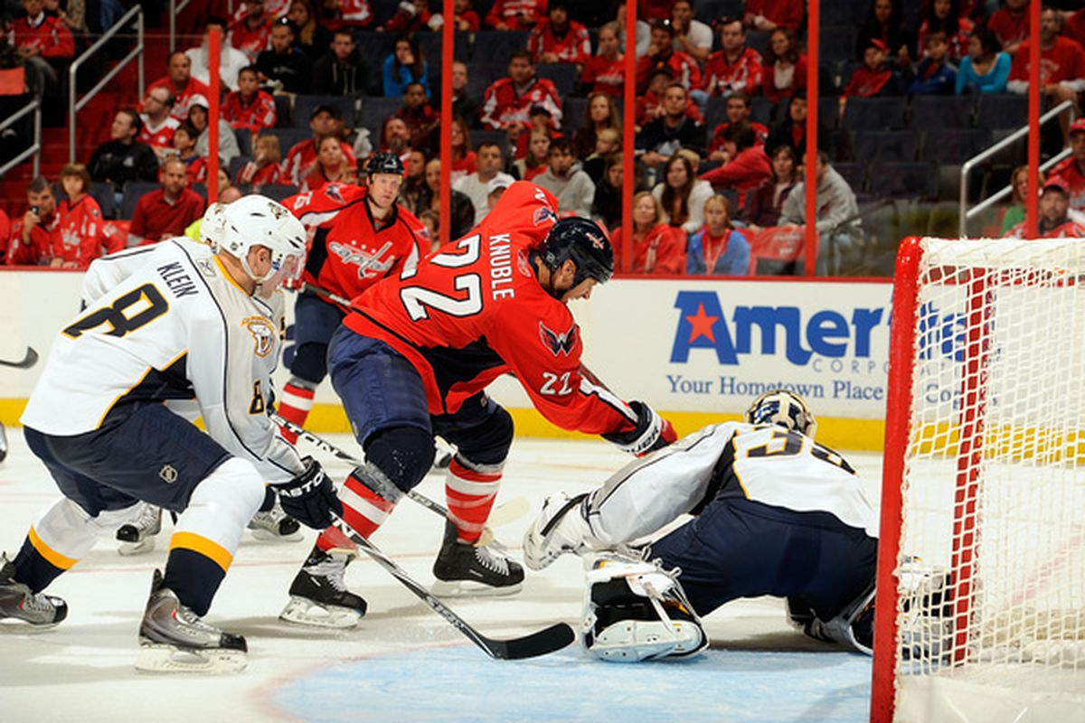 WASHINGTON - OCTOBER 03:  Pekka Rinne #35 of the Nashville Predators makes a save against Mike Knuble #22 of the Washington Capitals at Verizon Center on October 3 2010 in Washington DC.  (Photo by Greg Fiume/Getty Images)