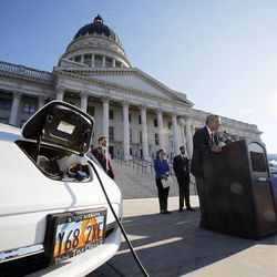Rep. Edward Redd, R-Logan, speaks during a press briefing concerning alternative fuel vehicle strategies at the Capitol in Salt Lake City, Wednesday, Aug. 7, 2013.