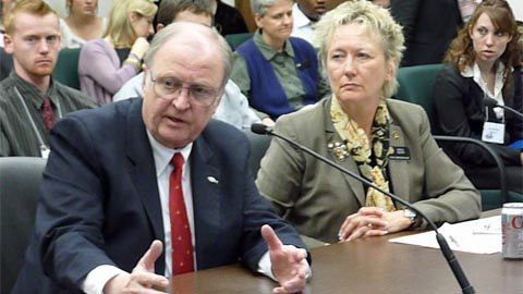 Bill Armstrong, president of Colorado Christian University, and Rep. Carole Murray, R-Castle Rock, sponsor of HB 11-1168.