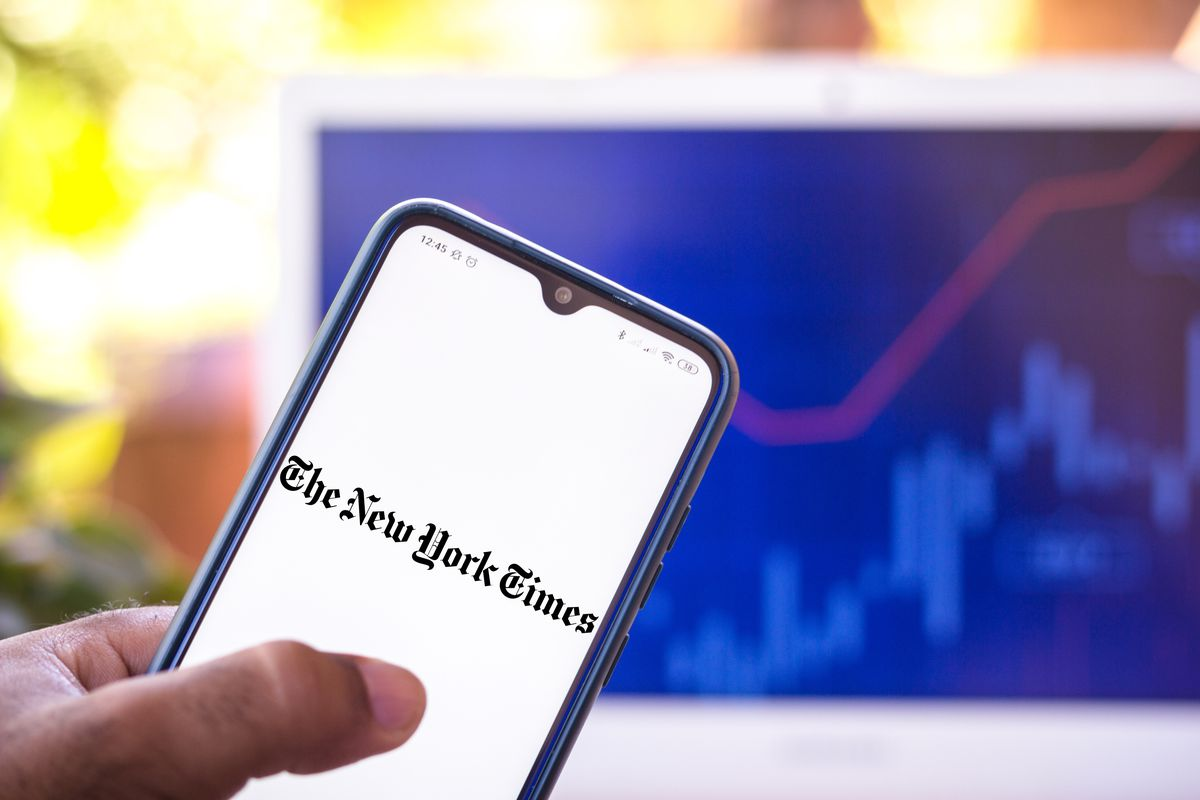 New York Times logo on a smartphone