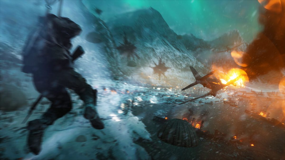 Battlefield 5 - plane on fire on Narvik map
