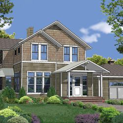 In this rendering released by Homeplans.com, House of the Week HMAFAPW1713 shows a three plus bedroom and two and a half bath light-filled family home with wraparound porch.