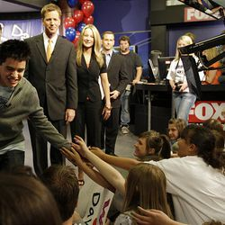 David Archuleta greets the crowd as he leaves the Fox 13 studio in Salt Lake City on Friday.