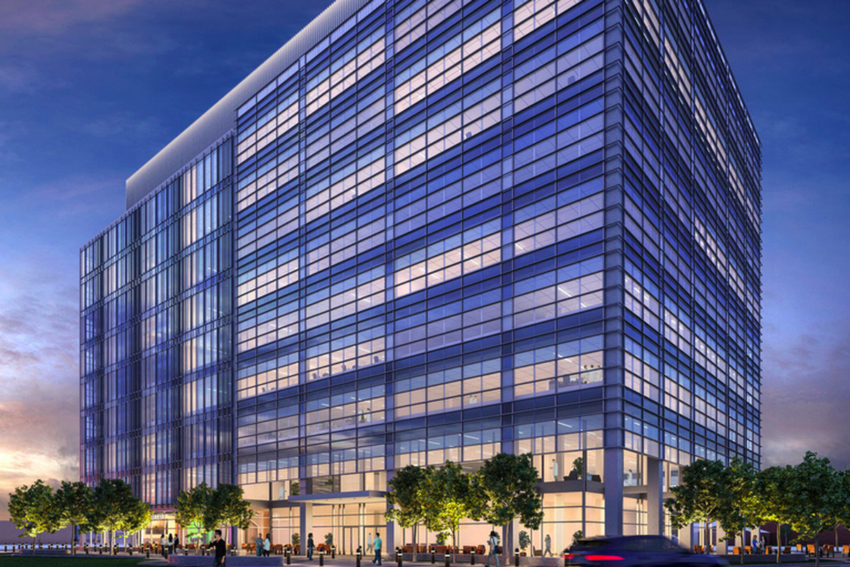 Rendering of a multi-story, boxy glass office building.