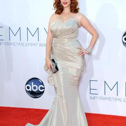 Actress Christina Hendricks arrives at the 64th Primetime Emmy Awards at the Nokia Theatre on Sunday, Sept. 23, 2012, in Los Angeles.